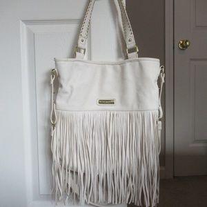 Steve Madden white fringe purse
